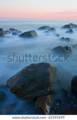 wet stones in sea water