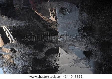 wet street - stock photo