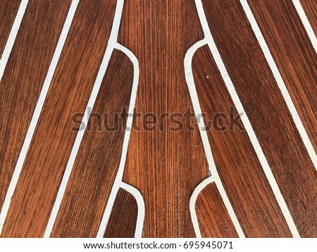 Wet Teak Wood Deck On Boat, Texture For Background