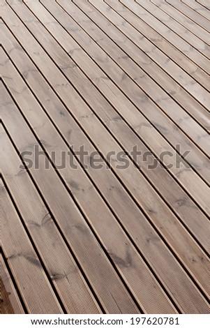 wet terrace brown wooden floor background texture - stock photo