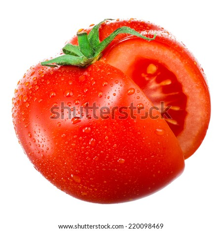 Wet tomato with cut isolated on white. - stock photo