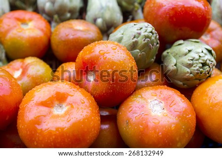 wet tomatoes - stock photo