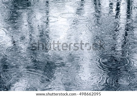 wet urban sidewalk with raindrops and trees reflection in a puddle