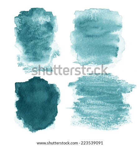 Wet Watercolor Wash. Watercolor Background. Colorful blue wet ink spot, watercolor abstract hand painted textured background isolated on white. Teal Green Watercolor Background. - stock photo