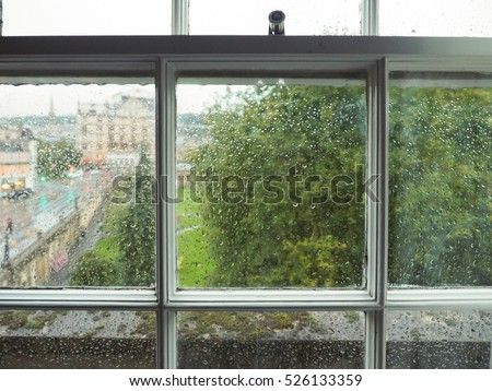 Wet window pane with rain water droplets and greenery background & Window Pane Stock Images Royalty-Free Images \u0026 Vectors | Shutterstock