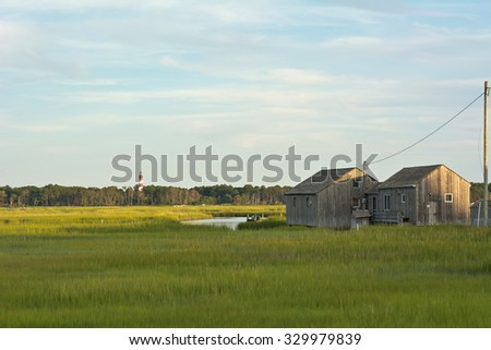 Wetland Conservation with Lighthouse and Boathouse at the Virginia National Seashore - stock photo