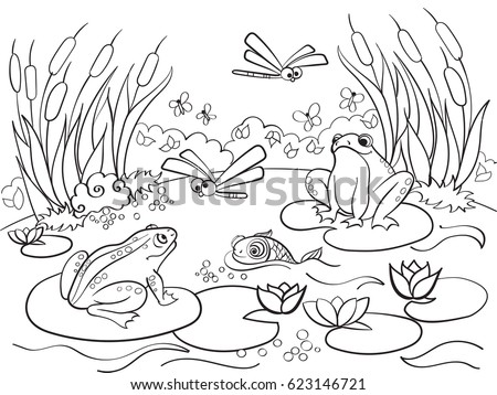Wetland Landscape With Animals Coloring Book For Adults Raster Illustration Anti Stress Adult