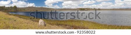 wetlands billabong Australian swamp lake Queensland Australia panorama landscape wilderness hike tourism destination - stock photo