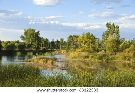 Wetlands wildlife refuge in a remote area on the Colorado prairie. - stock photo