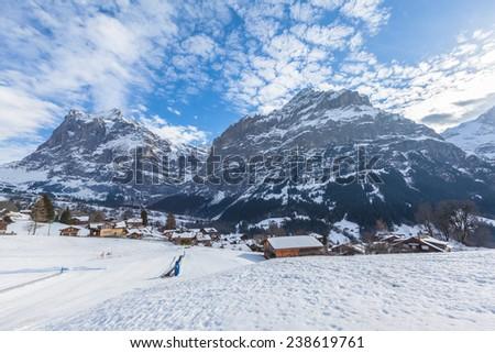 Wetterhorn and Schreckhorn of Grindelwald in Winter, Swiss Alps, Switzerland - stock photo
