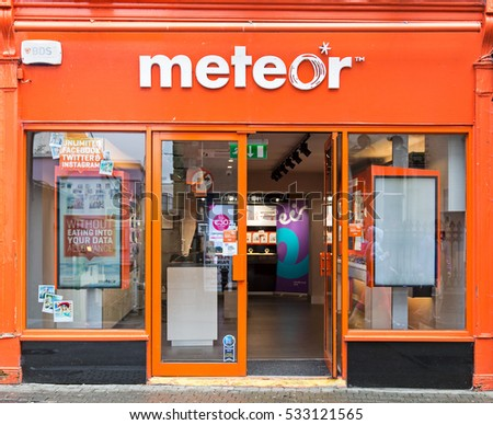 WEXFORD, IRELAND - AUGUST 1, 2016: A Meteor phone outlet. It was established in 2001 and became a wholly owned subsidiary of  the Eircom Group in 2005.