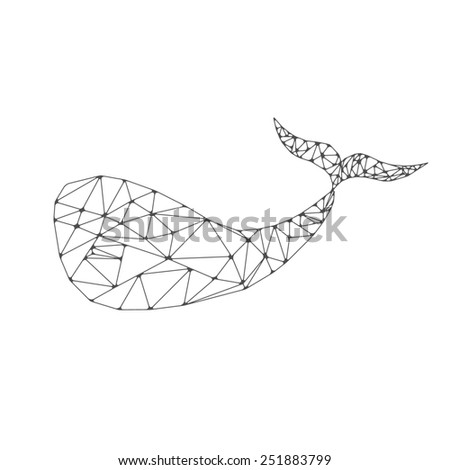 whale polygonal illustration - stock photo