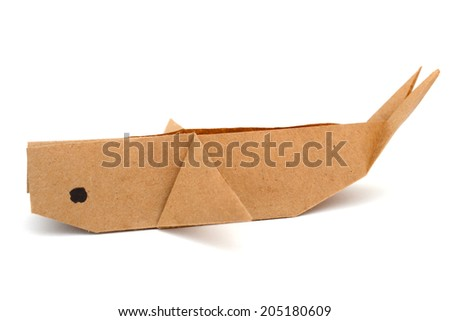 Whale recycled paper on white background.  - stock photo