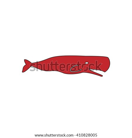 whale Simple red icon on white background. Flat pictogram - stock photo
