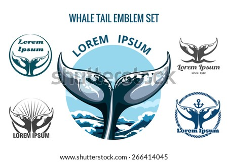 Whale tail logo or emblem set. Only free font used. Isolated on white background. - stock photo