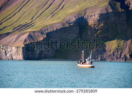 whale watching in Husavik in Iceland - stock photo
