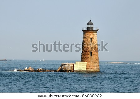 Whaleback Light, off of Kittery Point, between New Hampshire and Maine - stock photo
