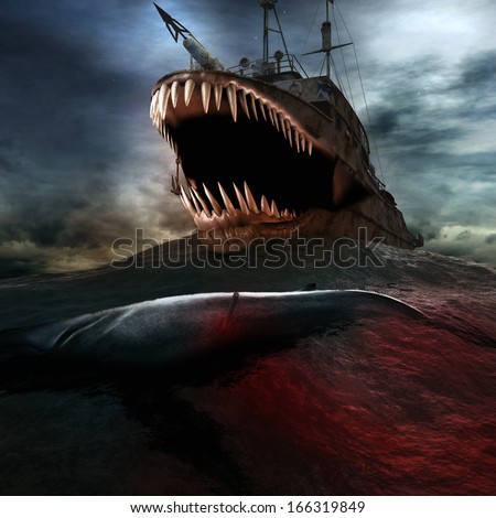 Whaleboat on the sea - stock photo