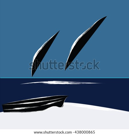 Whales jump from the ocean boat on the beach is an abstract art illustration the minimalism flat style blue background  bitmap image