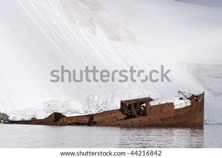 whaling ship wreck Gouvernoren that burned down in 1916 at Enterprise Island in Wilhelmina Bay - stock photo
