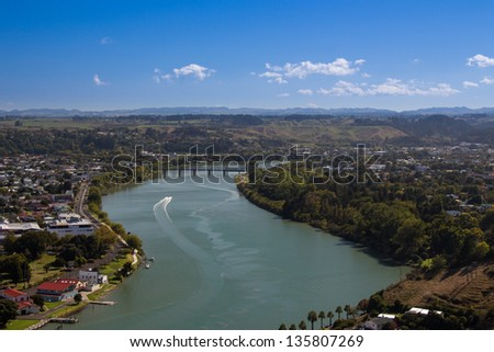 Whanganui river flows through the city. - stock photo
