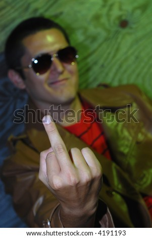 What a rude young man!  What shocking behavior! - stock photo