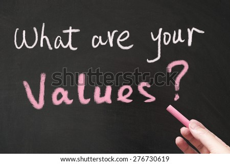 What are your values words written on the blackboard using chalk - stock photo