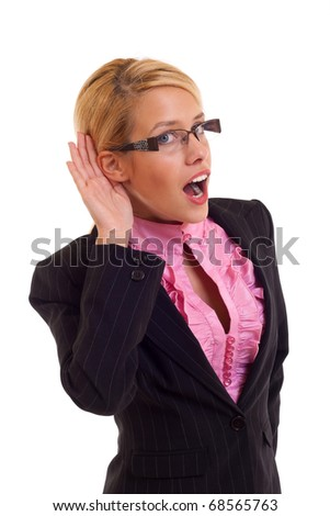 What? Business woman hand on ear. Listening. - stock photo