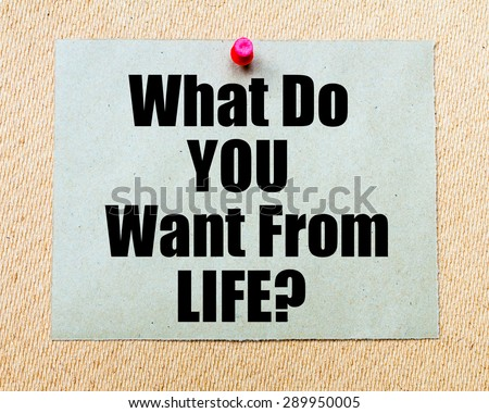 What Do You Want From Life? written on paper note pinned with red thumbtack on wooden board. Motivation conceptual Image - stock photo