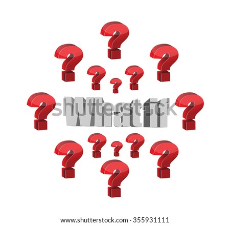 what if question illustration design graphic over white