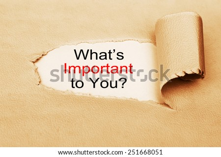 What is important to you ? written behind a torn paper - stock photo
