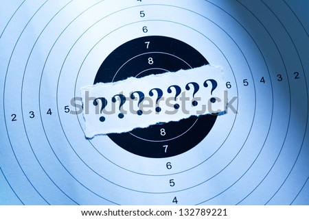 What is your target, question mark on target paper - stock photo