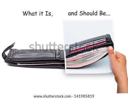 What it Is, and Should Be, wallet full of money vs. empty, concept - stock photo