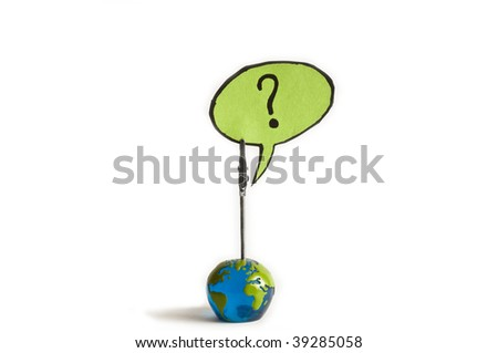 what now ? question mark from a globe - stock photo