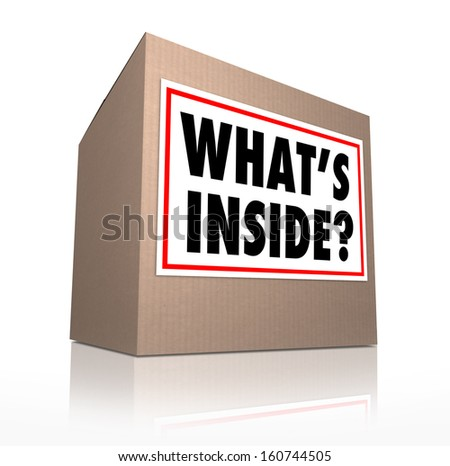 What's Inside question on a sticker on a cardboard box to illustrate the mysterious contents of a parcel, package, or other delivery container sent to you to open and enjoy as a gift or present - stock photo