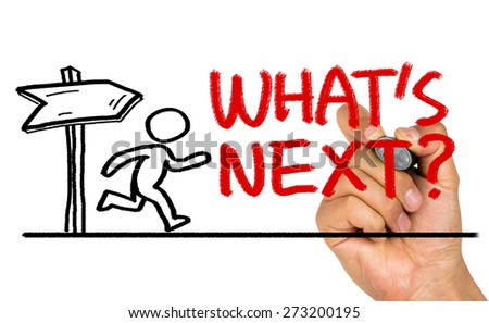 what's next concept hand drawing on whiteboard - stock photo