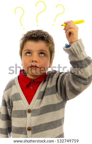 what's on this kids mind. the background is pure white, so the question marks can easily be replaced or removed. - stock photo