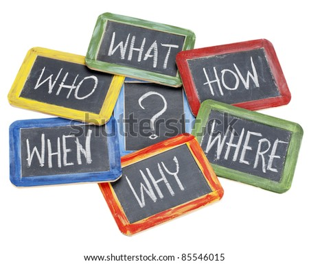 what, when, where, why, how, who questions - white chalk handwriting on vintage slate blackboards in colorful wood frames - stock photo