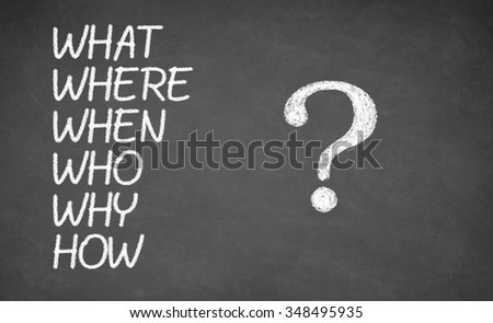 What, Where, Who, Why, When, How - made with white chalk on a blackboard, concept