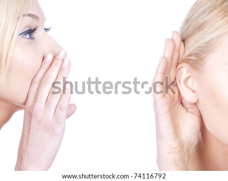 What? women said, woman listening to gossip, whispering isolated on the white background - stock photo