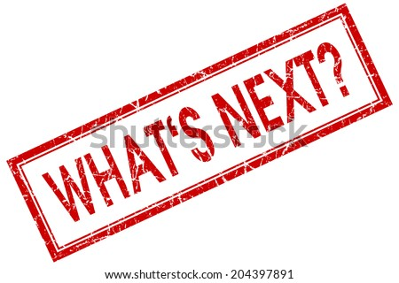 Whats next red square grungy stamp isolated on white background - stock photo