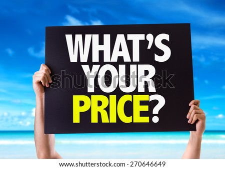Whats Your Price? card with beach background - stock photo