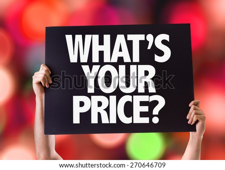 Whats Your Price? card with bokeh background - stock photo
