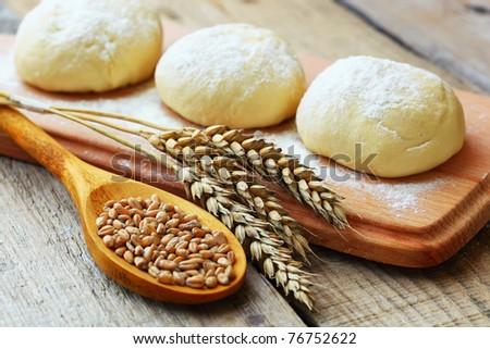 Wheat and dough - stock photo