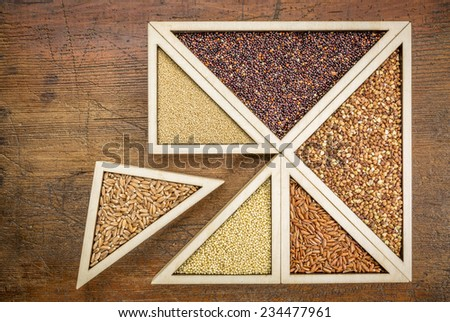 wheat berries against gluten free alternative grains (quinoa, millet, amaranth, buckwheat and rice) - wooden tray inspired by tangram puzzle - stock photo
