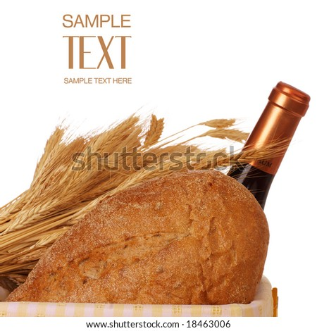 Wheat, Bread And Wine In Yellow Picnic Basket - stock photo