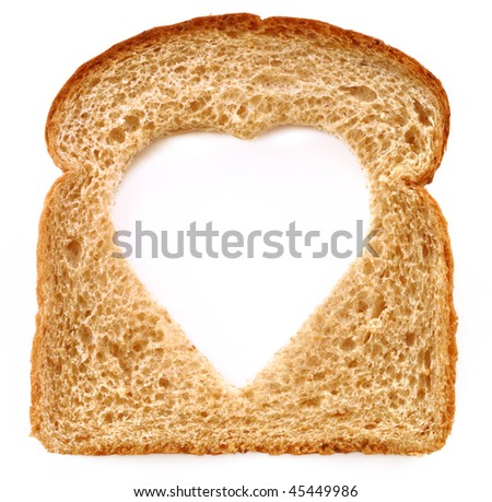 Wheat Bread Slice with Heart Isolated on White