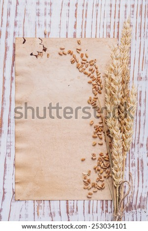 wheat ears and corns on sheet of paper old wooden board with copyspace for your text  - stock photo