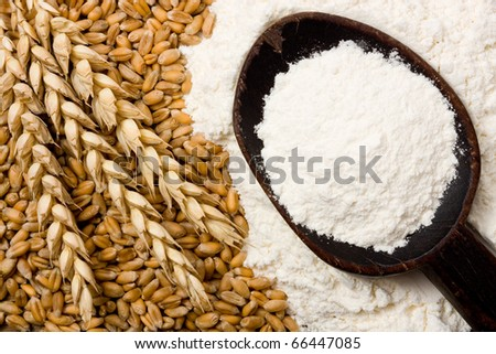 Wheat ears and flour on wooden spoon - stock photo