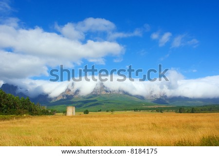 Wheat farm fields in front of amazing mountains in snow white cloud. Shot in Vergelegen estate area, Hottentots Holland Mountains, near Somerset West, Western Cape, South Africa. - stock photo
